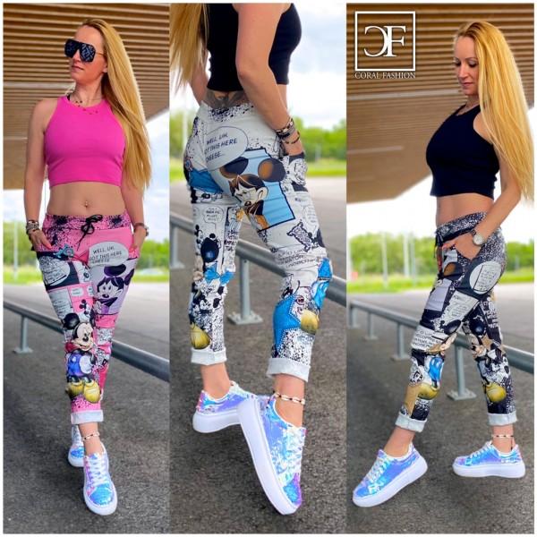 Damen stretch Freizeithose Hose mit Mickey STORY print ITALY FASHION