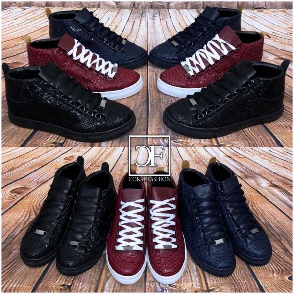 Herren KROKO Fashion HIGH CUT Sportschuhe / Sneakers in 3 Farben