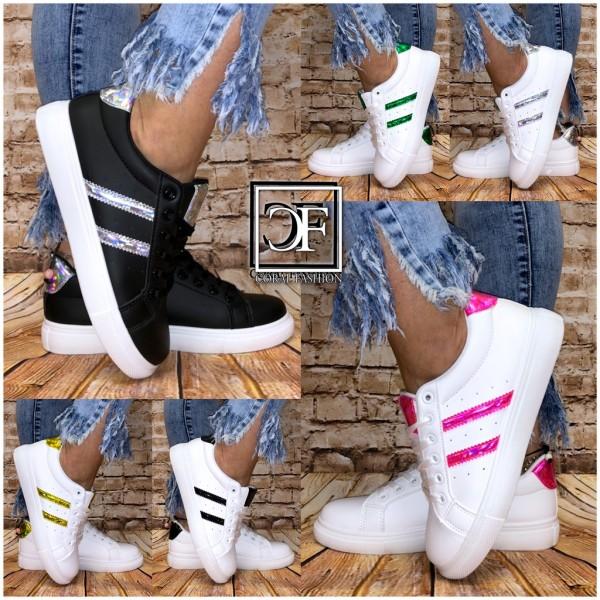 Damen LOW CUT Color Holo 2 STRIPE Sportschuhe / Sneakers in 6 Farben