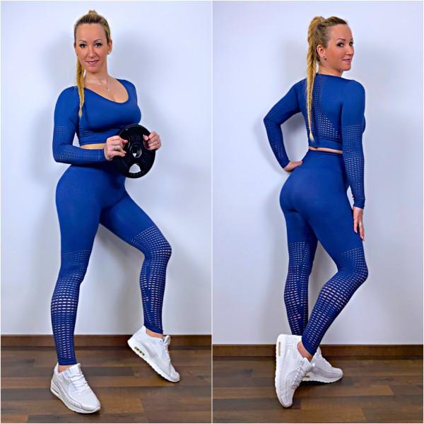 Damen Workout Sport Fitness Outfit mit Lochmuster Set 2 Teiler Leggings + LA Shirt Blau