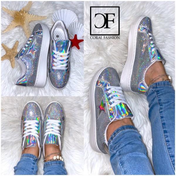 Damen LOW CUT Pailletten HOLO Star Sportschuhe / Sneakers SILBER