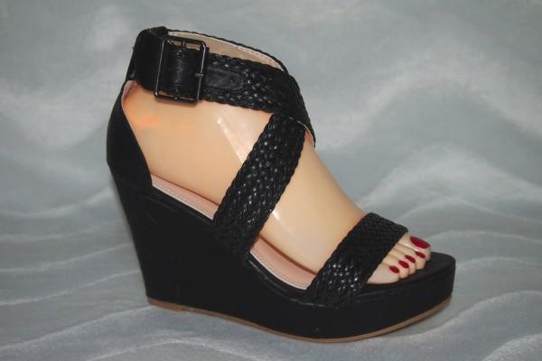 Keil Sandalen mit geflochtenen Riemen SCHWARZ