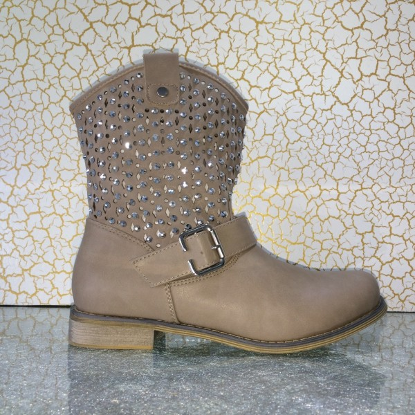 Biker Boots / Stiefeletten mit Strass am Schaft KHAKI