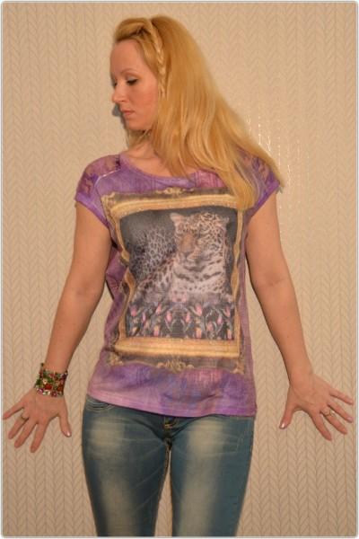 3D Shirt mit Netzt LEOPARD im Rahmen Bunt / LILA