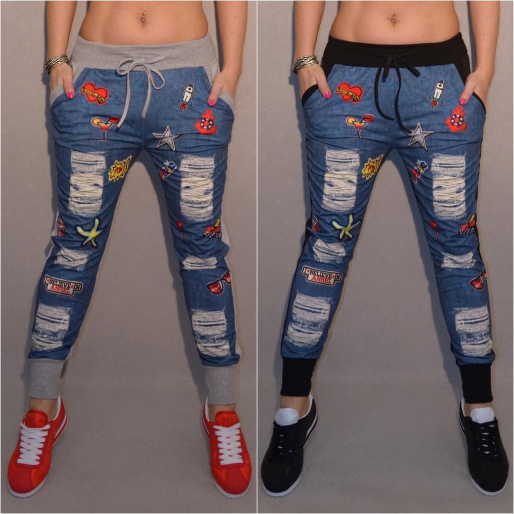 Italy Destroyed APPLIKATIONEN Denim print Hose   Freizeithose   hinten UNI  einfärbig   Freizeithosen   Damenmode   Mode   Coral Fashion b34201e028