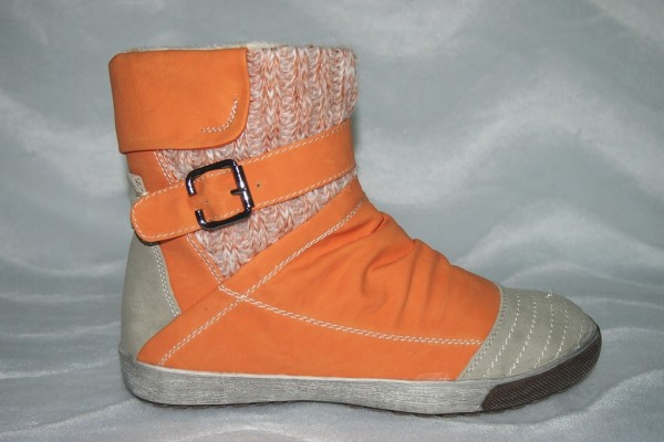 Stiefeletten - Sneakers Stil mit Fellimitat gefüttert ORANGE