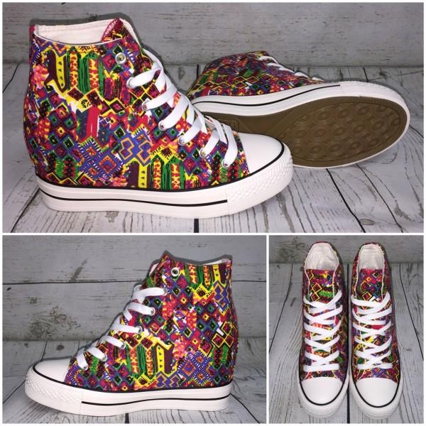 DENIM Textil FANTASY Highcut Keil Sneakers / Keilsneakers