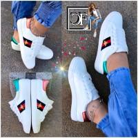 Damen TREND Kunstleder Low Cut Stripe Sportschuhe Sneakers BIENE Bee