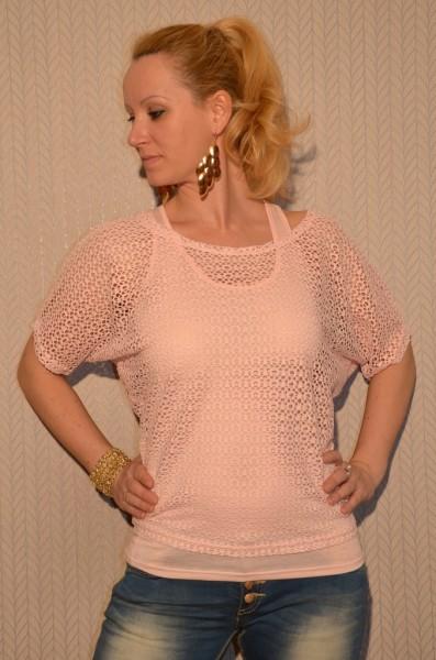 2 teiliges Kurzarm NETZ Shirt ROSA