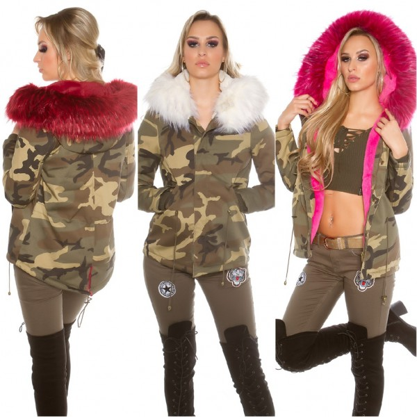 In Look Mit Kapuze Damen Winterjacke Camouflage Gefütterte Jacke Parka Army BxeCrodW