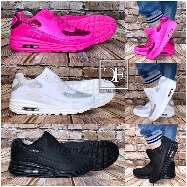 "Bequeme /""Glitzer BLATT/"" AIR Sportschuhe Sneakers"