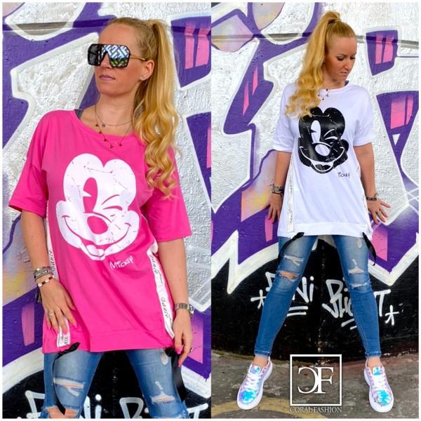 Italy Damen Mickey Kleid Tunika Longshirt in 2 Farben