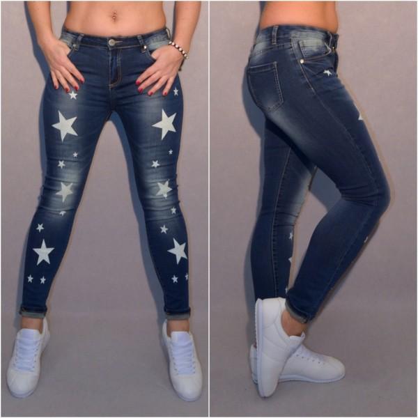 Stretch Blue JEANS mit WHITE STARS / Sterne print