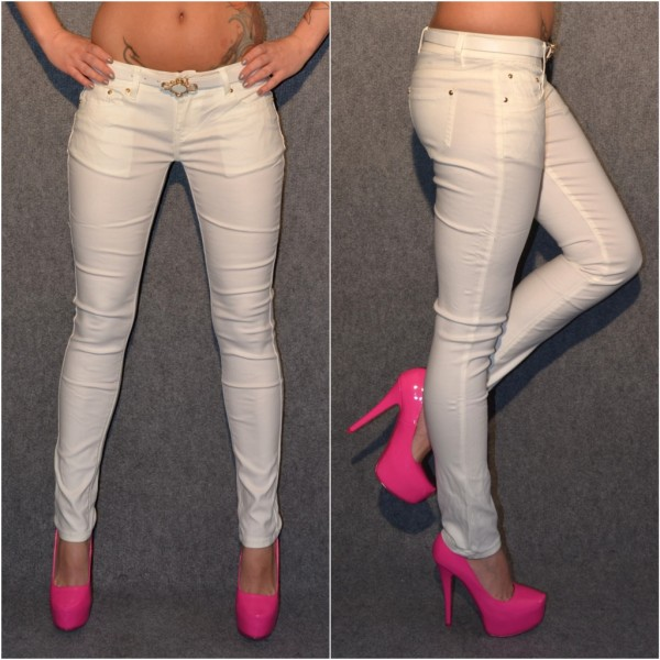 *ANGEBOT Fashion stretch Hose mit Gürtel WEISS