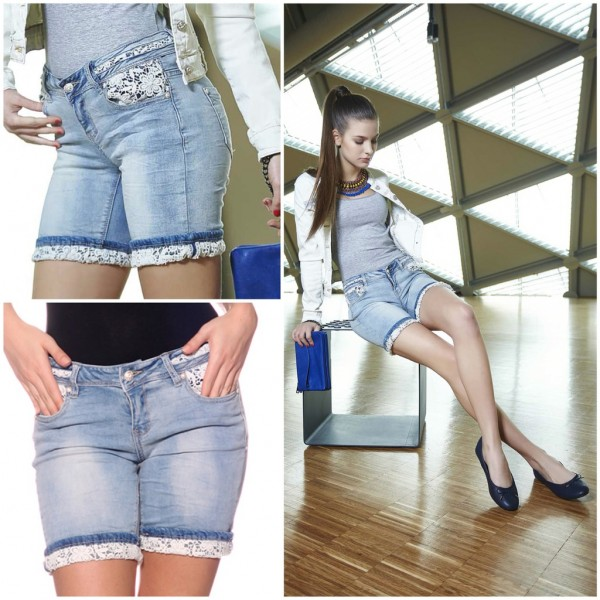Stretch Jeans BERMUDA SHORTS mit Spitze