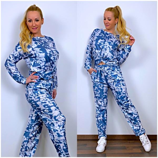 Damen Jogginganzug Freizeitanzug Set 2 Teiler LA Shirt mit Twist vorne + Hose Blau / Weiß