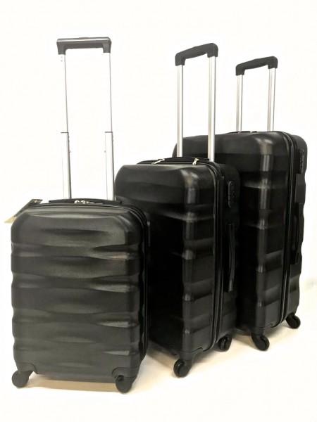 Hartschalen Reisekoffer Koffer Hardcase Trolley mit Zahlenschloss Kofferset 4 Rollen SCHWARZ