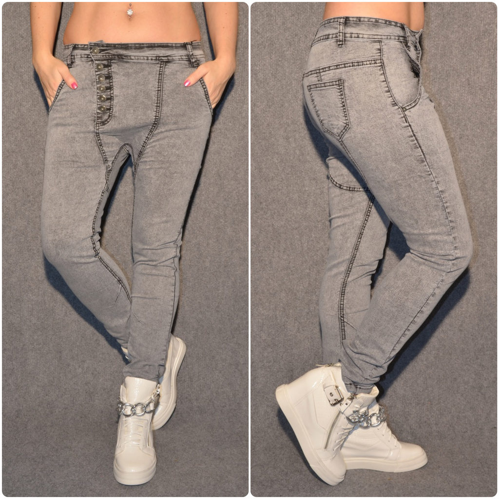 HAREMS stretch JEANS mit Knöpfen GRAU   Jeans   Damenmode   Mode   Coral  Fashion ba28be9eaf
