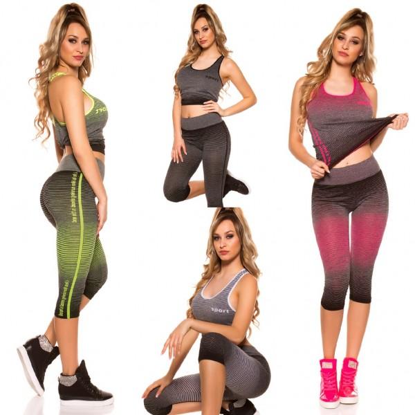 Damen Workout Sport Fitness Outfit Set 2 Teiler Capri Leggings + Tanktop Top SPORT