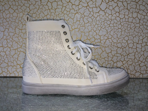 Modische High Cut Sneakers mit ALL OVER Strass WEISS