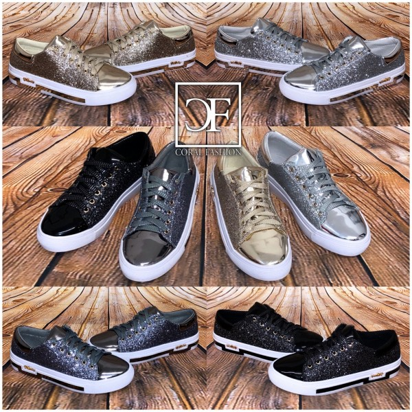Fashion GLITZER Lowcut Sneakers mit weißer Sohle