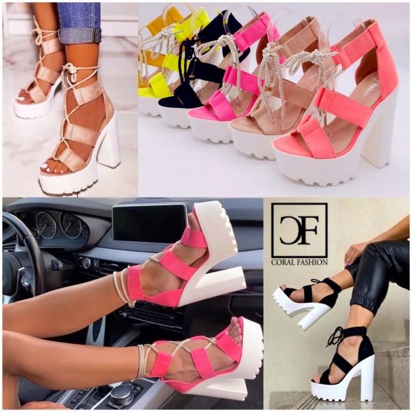 Damen HIGH FASHION Heels Sandalen mit Blockabsatz zum schnüren in 5 Farben