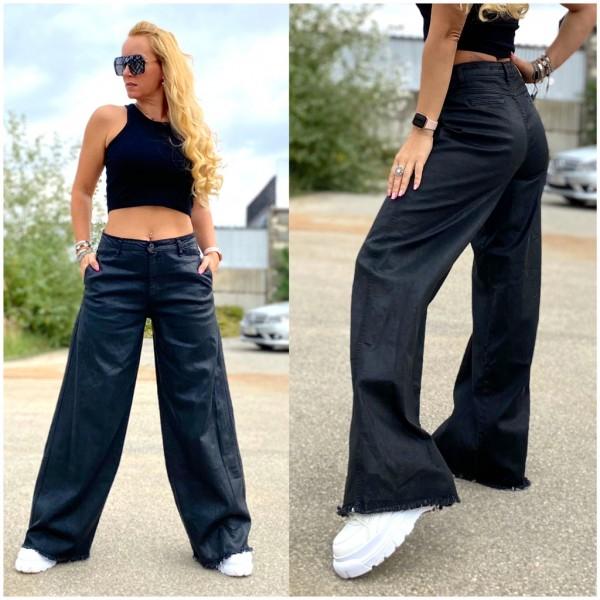 Italy Damen Denim JEANS Hose mit extrem breiten Hosenbeinen SCHWARZ / Marke PLEASE Fashion