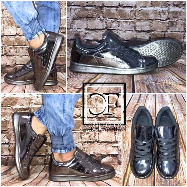 Coole LACK Lowcut Sportschuhe / Sneakers GRAU