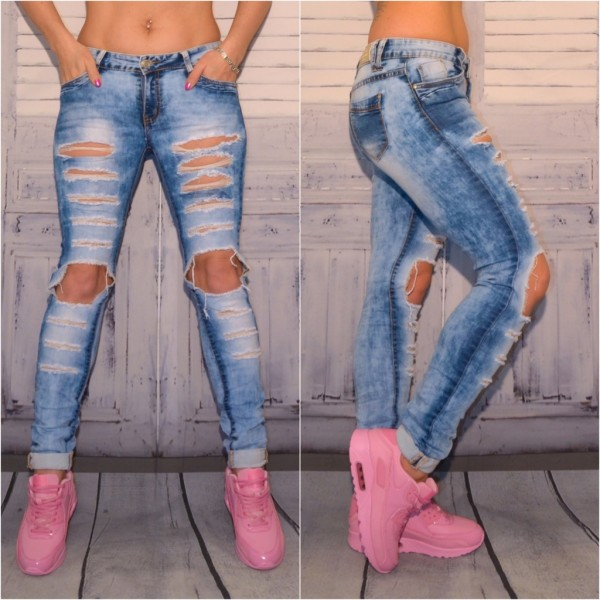 Extreme destroyed FASHION stretch JEANS