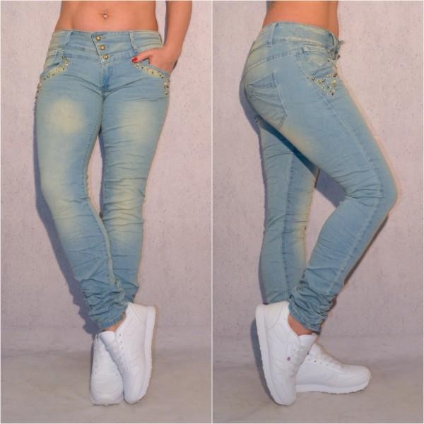 Übergrößen Oversize Damen Fashion stretch Denim JEANS Hose mit Nieten besetzt Blau