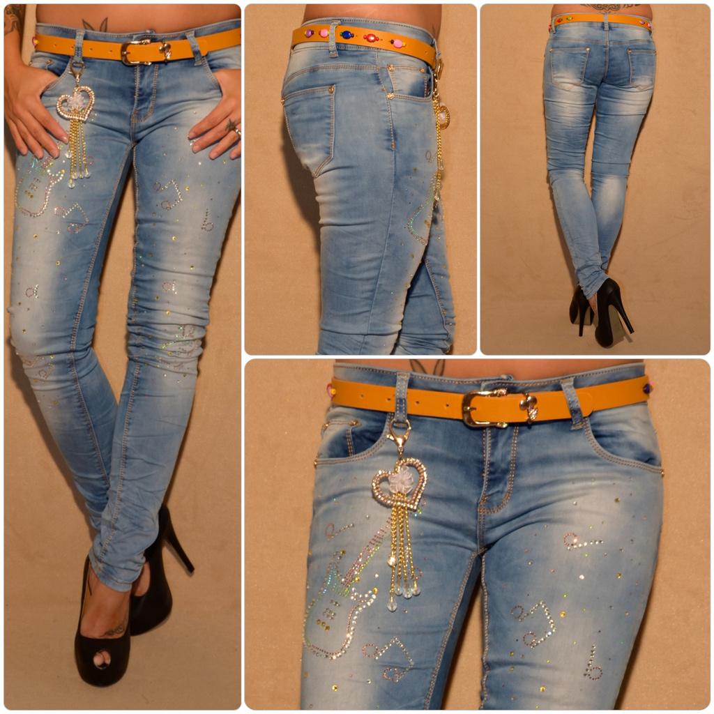 Fashion stretch JEANS mit Strass GITARRE NOTEN   Dekoanhänger inkl. Gürtel    Jeans   Damenmode   Mode   Coral Fashion bf799a59f7