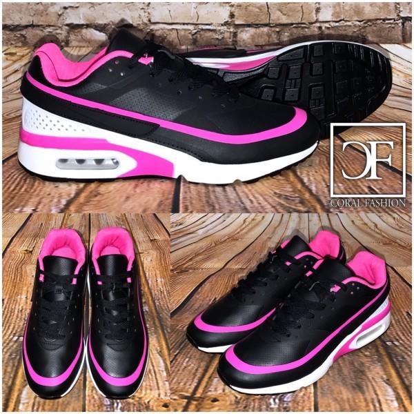 Bequeme LUFT Sportschuhe / Sneakers SCHWARZ / PINK