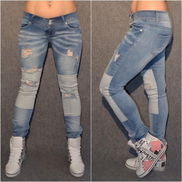 Destroyed stretch Jeans mit PATCHWORK Look