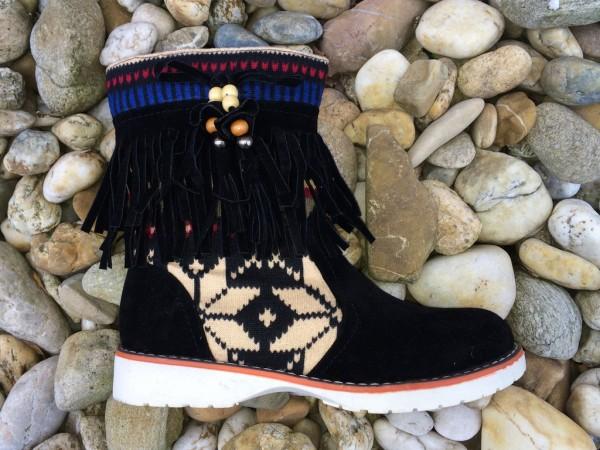 AKTION!!! - Indianer Stil Stiefeletten mit Zippverschluss / gefüttert SCHWARZ