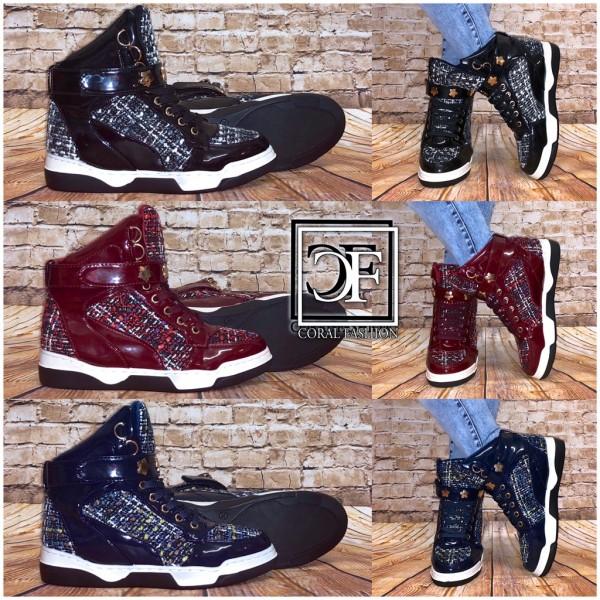 Bequeme Damen STAR Highcut Knitted Sneakers Sportschuhe in 3 Farben
