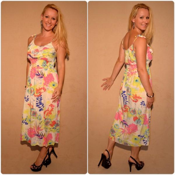 Halblanges Kleid mit sommerlichem Muster WEISS / GELB