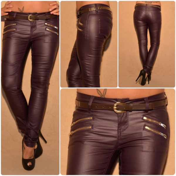 Fashion stretch LederLOOK JEANS mit angesagtem Steppmuster inkl. Gürtel AUBERGINE