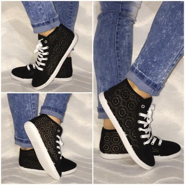 NETZ Sneakers mit Lochmuster BLACK