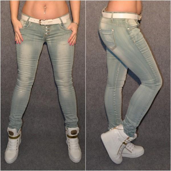 Coole stretch Jeans mit Strass und weißem Gürtel GRAU / BLAU