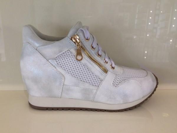 Modische Keil Schnür Sneakers mit seitlichem Zipp WEISS