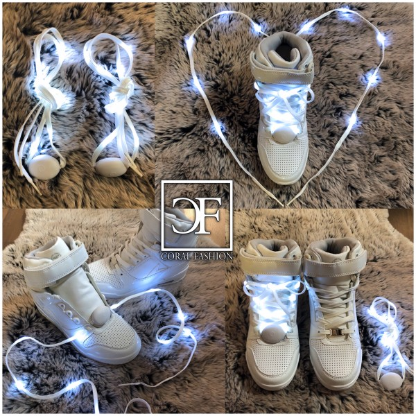 Weiße LED Schnürsenkel aus Textil, 130 cm, weiße LEDs