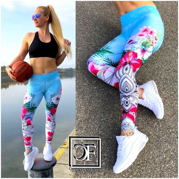 Damen stretch Leggings Fitness Sport Workout Streetwear Hose Flower Mandala Blau