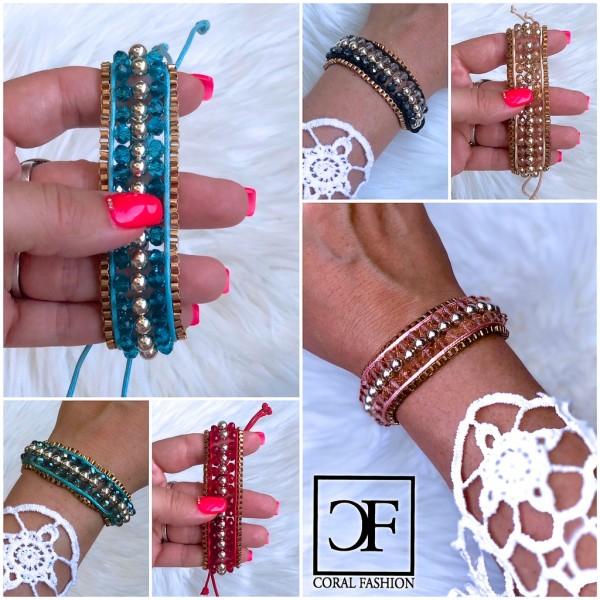 Fashion Schmuck süßes Armband mit bunten Perlen und Zugband in 6 Farben