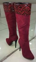 Elegante Langschaft Stiefeln mit Schlangenleder Design ROT
