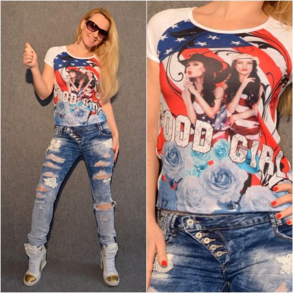 GOOD GIRL - USA print Shirt / T-Shirt WEISS