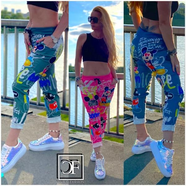 Damen stretch Freizeithose Hose mit Mickey Graffiti print ITALY FASHION Trend