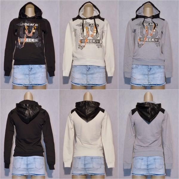 Damen Hoodie Kapuzenpullover Sweat Pullover Sweatshirt mit Kunstleder Kapuze HIDE and SEEK 05