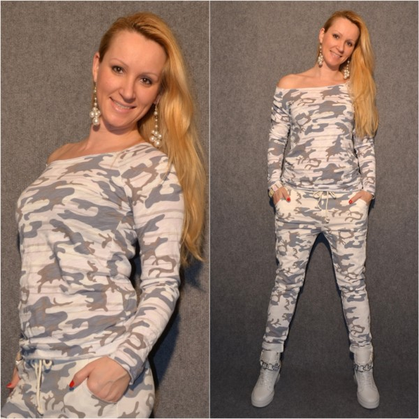 Italy CAMOUFLAGE Langarmshirt WEISS