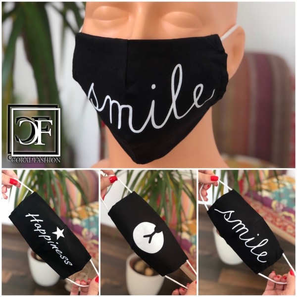 Mund und Nasenmaske mit coolem print & Gummi / 3 Modelle schwarz