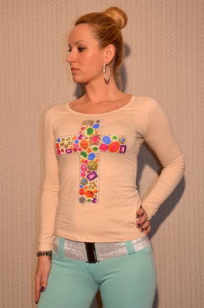 Langarm Shirt mit buntem KREUZ und Strass BEIGE
